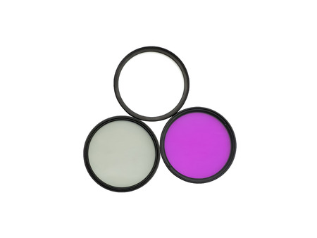 Three photographic filters for digital camera: UV, FLD and CPL
