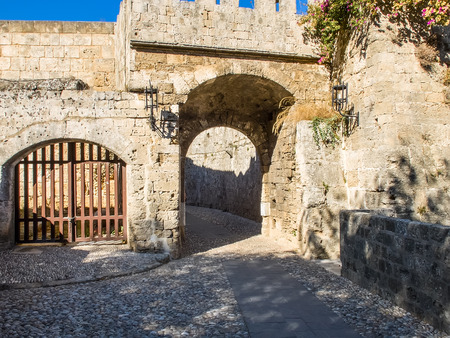Medieval defensive gate, Rhodes Old Town, Greece photo