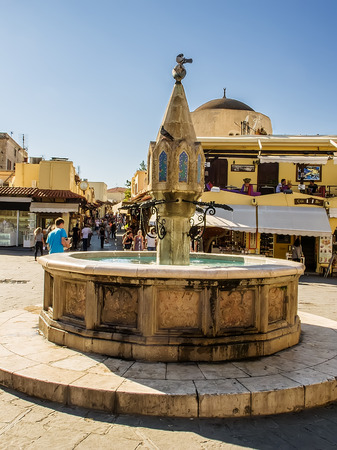 hippocrates: Rhodes Old town Hippocrates Square with a fountain Editorial