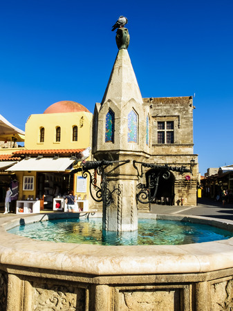 hippocrates: Medieval fountain, Hippocrates Square, old town of Rhodes, Greece