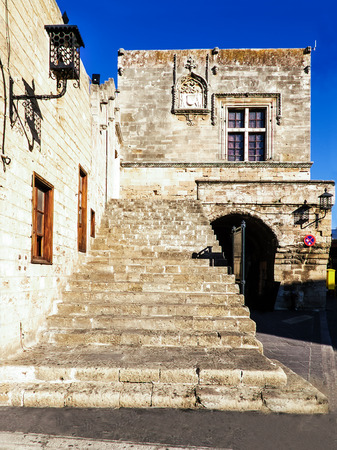 hippocrates: Ancient staircase house on Hippocrates Square in Rhodes, Greece.