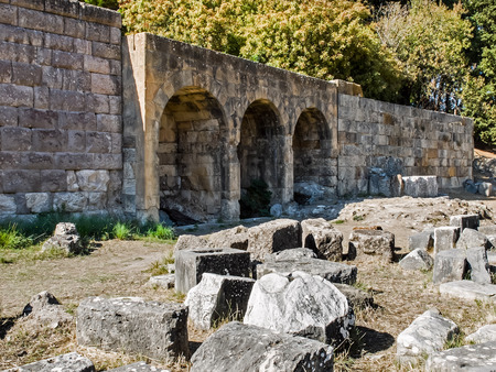 hippocrates: Ancient ruins of baths of Asclepium in Greek island Kos Stock Photo
