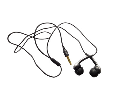 earbuds: Black earbuds isolated on a white background
