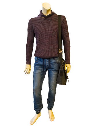 male mannequin: Male mannequin dressed in casual clothes, isolated on white background Stock Photo