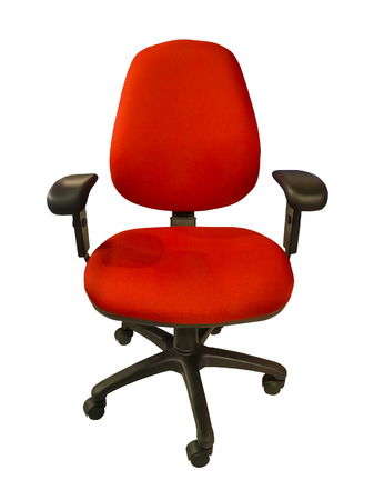 Red office chair on wheels. Isolated object on a white background photo