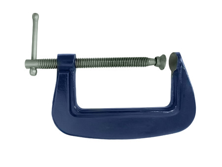 vice grip: Blue G clamp isolated on a white background Stock Photo