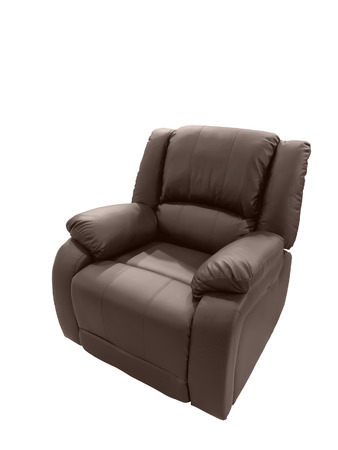Brown Leather arm chair isolated on white background