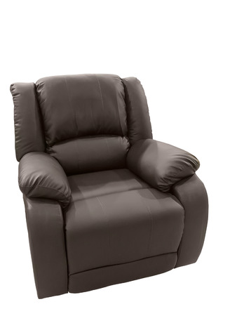 recliner: Brown Leather arm chair isolated on white background