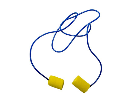 industrial noise: Ear plugs with cord isolated on white background