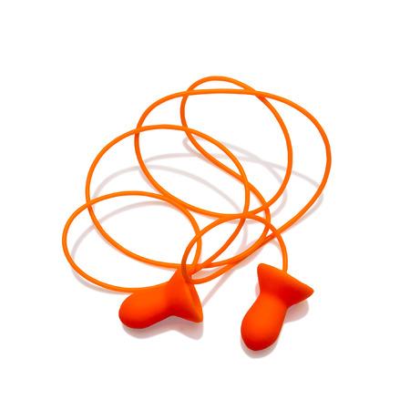 ruido: Tapones para los oídos con cable aislado en el fondo blanco