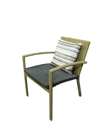 cane chair: Cane chair with cushion isolated on white background Stock Photo