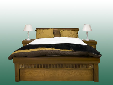 bedside lamps: Modern wooden bed and two bedside tables with lamps against green background Stock Photo