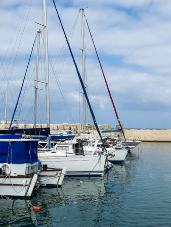 jaffa: Yachts in Port of Old Jaffo, Israel Stock Photo