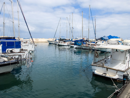 yaffo: Yacht in the port of Old Jaffa in Tel Aviv