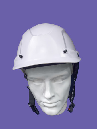 male mannequin: Close up of male mannequin wearing white safety helmet