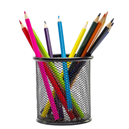 color pencils: Color pencils in metal basket isolated on a white background Stock Photo