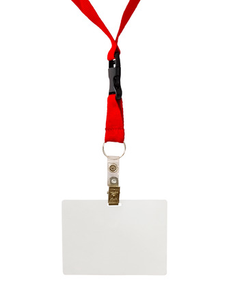 name badge: Name badge on red strap isolated on white background Stock Photo