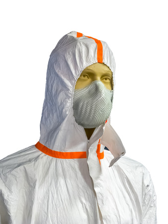 male mannequin: Male mannequin in protective clothing and respirator