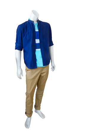 male mannequin: Male mannequin dressed in casual clothes isolated on white background