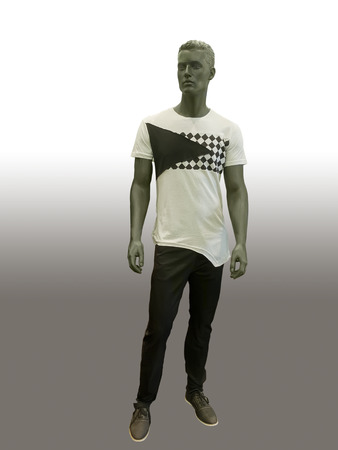 male mannequin: Male mannequin dressed in t- shirt and jeans, isolated