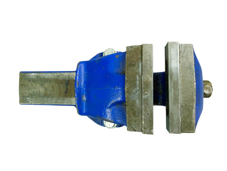vice grip: Metal table vise clamp with open jaws isolated on white background. Top view.