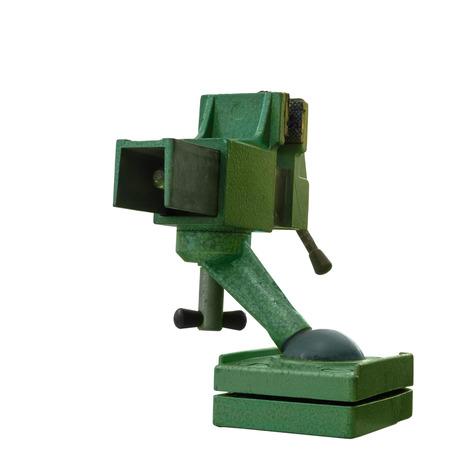 vise: Green steel vise isolated on white background