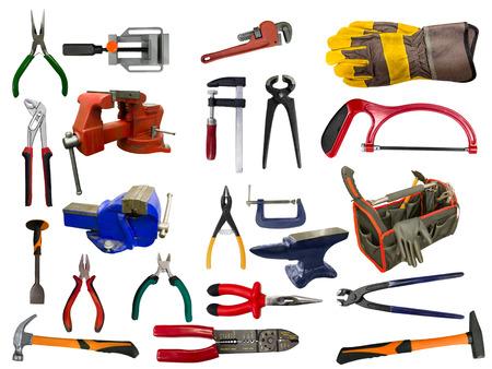 herramientas de construccion: Conjunto de diferentes herramientas sobre fondo blanco Foto de archivo