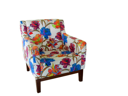 upholster: Modern armchair with colorful ornament isolated on white background. Stock Photo