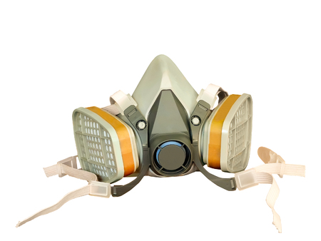 chemical hazard: Toxic dust respirator isolated on white background.