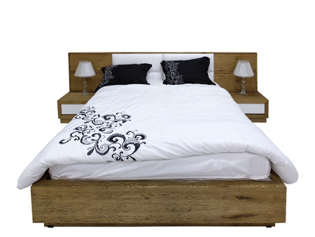 bedside tables: Modern wooden bed and two bedside tables with lamps on white background