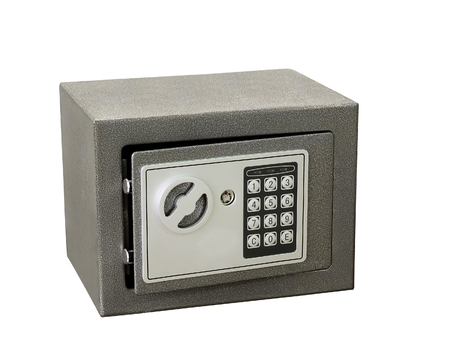 secret code: Small safe for home and office use with digital lock isolated on white background.