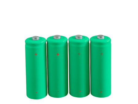 rechargeable: Set of green rechargeable eco batteries isolated on white background