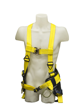 safety harness: Mannequin in safety harness equipment isolated on white background Stock Photo