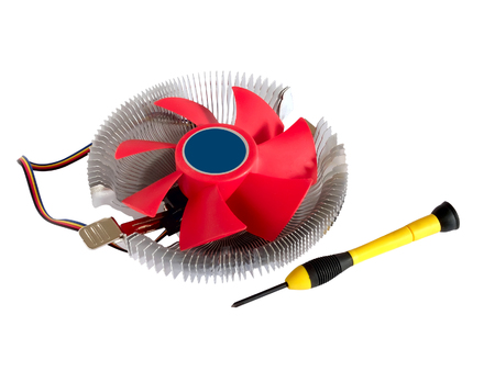 screwdriver: CPU cooler fan and screw-driver isolated on white background