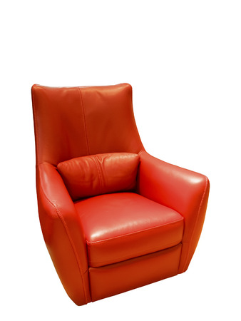 red leather: Modern red leather armchair over white background Stock Photo