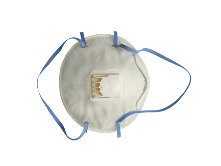 protects: Industrial respirator with valve protects against dust isolated on white background