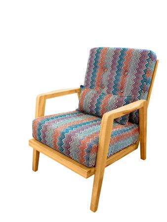 Gepolsterter Stuhl Mit Den Hölzernen Beinen, Lokalisiert Auf Weißem ...
