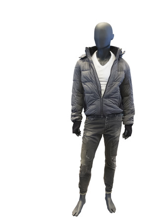 male mannequin: Male mannequin dressed in casual clothes, isolated on white background. No brand names or copyright objects. Stock Photo