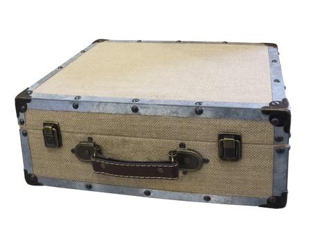 padded: Small vintage padded suitcase, isolated on white Stock Photo