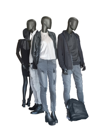 Group of mannequins wear casual clothing isolated on white background Reklamní fotografie