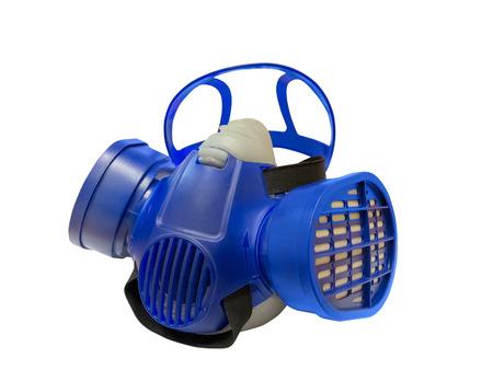 white mask: Blue chemical protective mask isolated on white background Stock Photo