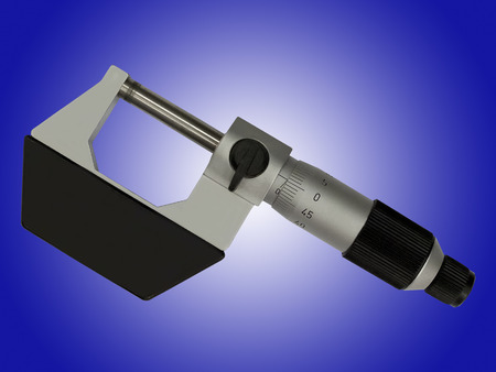vernier caliper: Professional measuring instrument - micrometer isolated on blue background Stock Photo