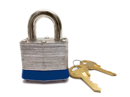 protection concept: Padlock with keys isolated on white background. Stock Photo