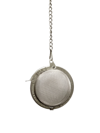 tea strainer: Hanging tea strainer isolated on a white background