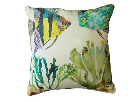 white pillow: Colorful decorative pillow with fishes and seaweed pattern. Isolated on white background.