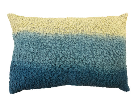corrugate: Blue and cream decorative corrugate pillow. Isolated on white background.