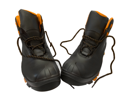 work boots: Black work boots isolated on white background