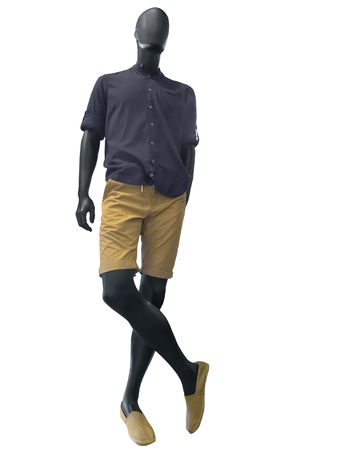male mannequin: Male mannequin in summer clothes isolated on white background. No brand names or copyright objects. Stock Photo