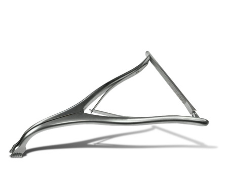 spinous: Surgical spreader. Spreader are used between the spinous processes to distract the intervertebral disc space.