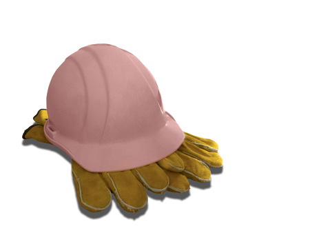 Pink hard hat and leather work gloves isolated on a white background